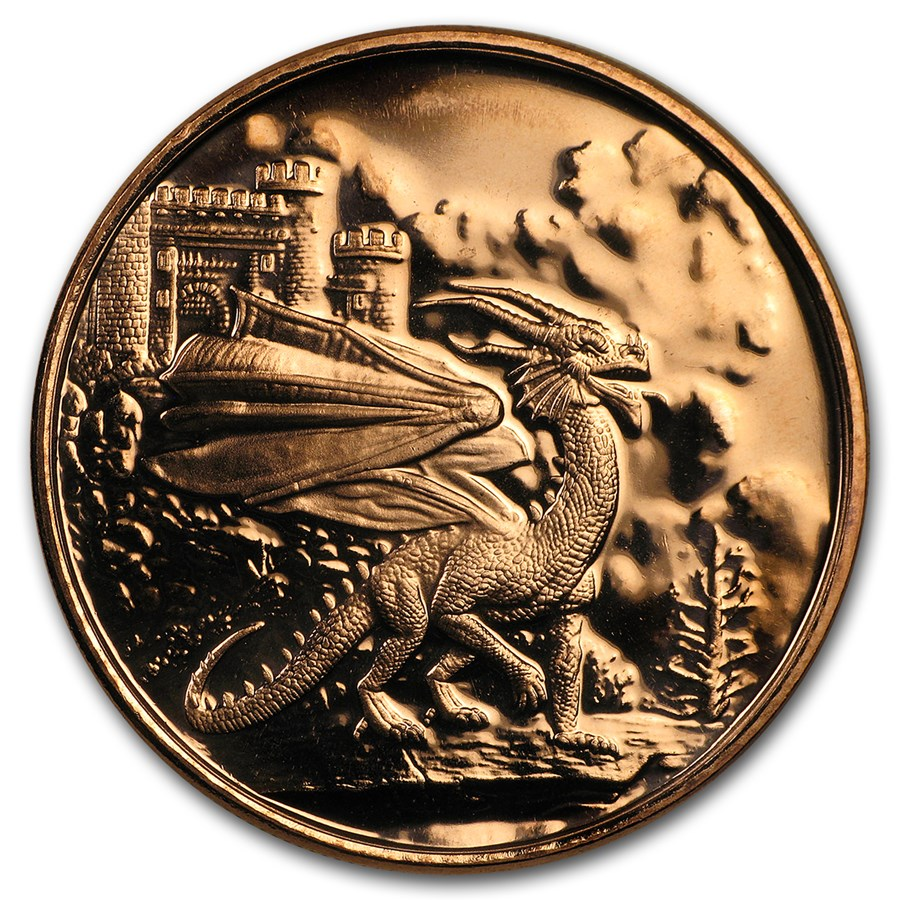 1 oz Copper Round - Celtic Lore: Welsh Red Dragon