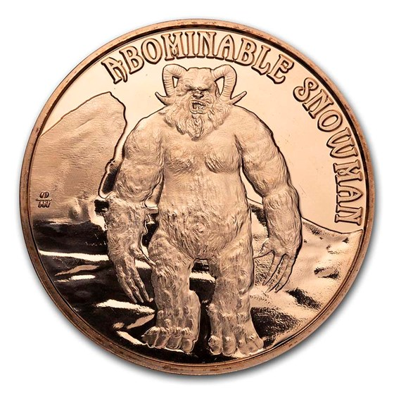 1 oz Copper Round - Cryptid Creatures: Abominable Snowman