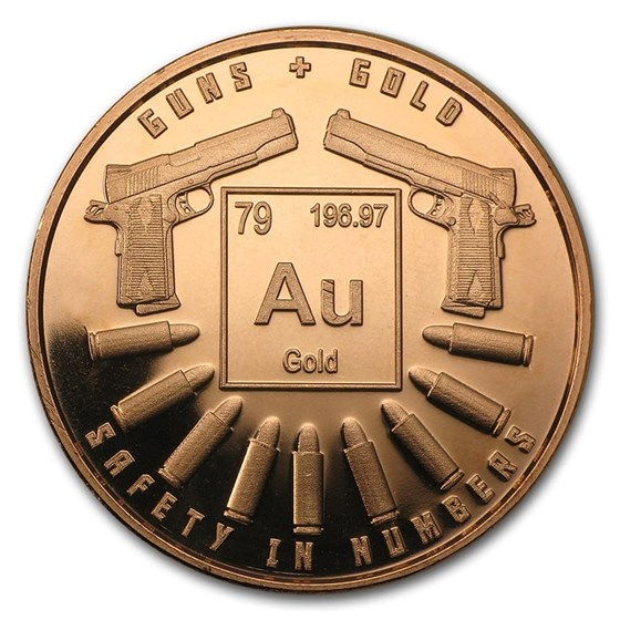 1 oz Copper Round - Guns and Gold