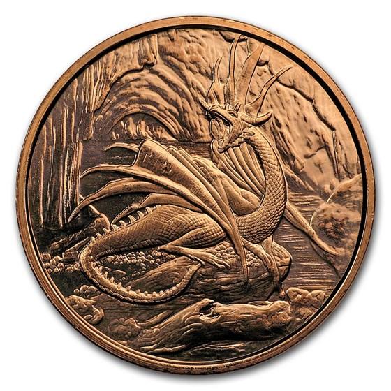 1 oz Copper Round - Nordic Creatures: Nidhoggr Dragon