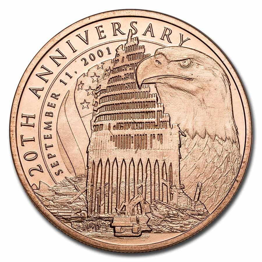 1 oz Copper Round - September 11th, 20th Anniversary