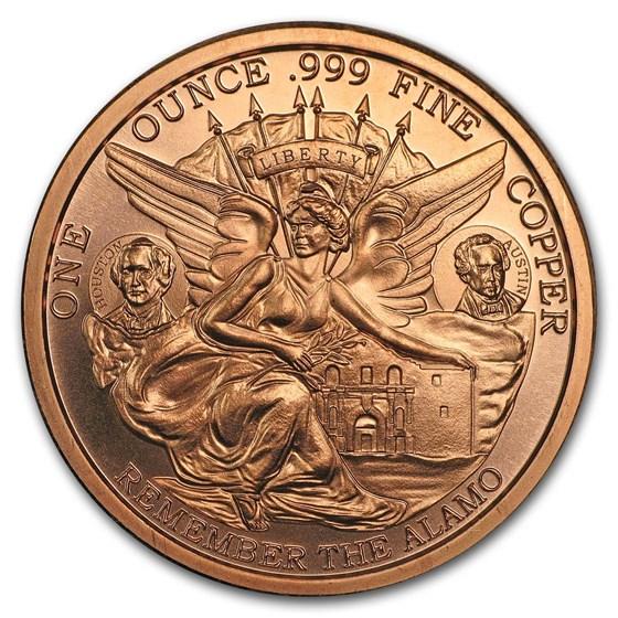 1 oz Copper Round - Texas Centennial (Remember the Alamo)