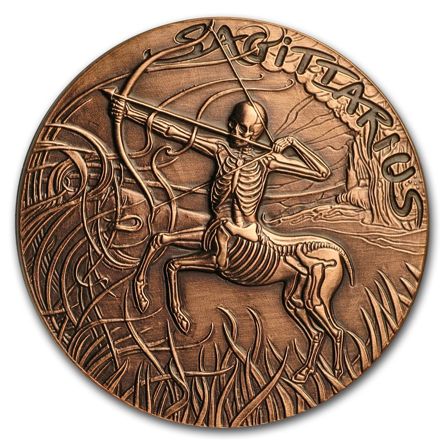 1 oz Copper Round - Zodiac Skull Series (Sagittarius)