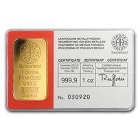 1 oz Gold Bar - Argor-Heraeus (Vintage, In Assay)