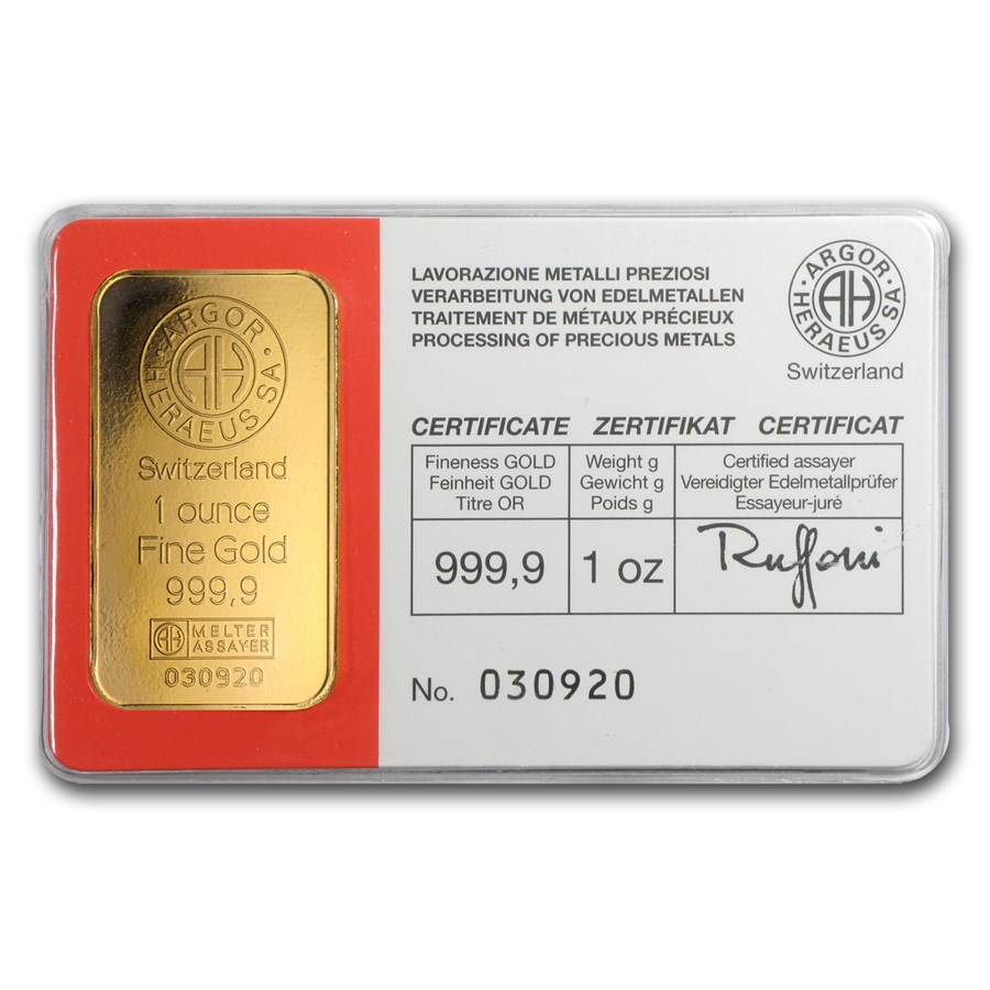 1 oz Gold Bar - Argor-Heraeus (Vintage, In Assay)