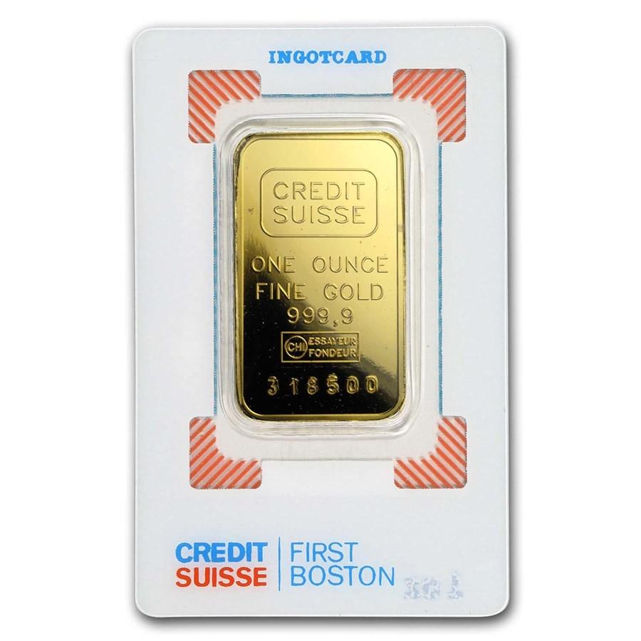 1 oz Gold Bar - Credit Suisse (Boston, Vintage Assay)
