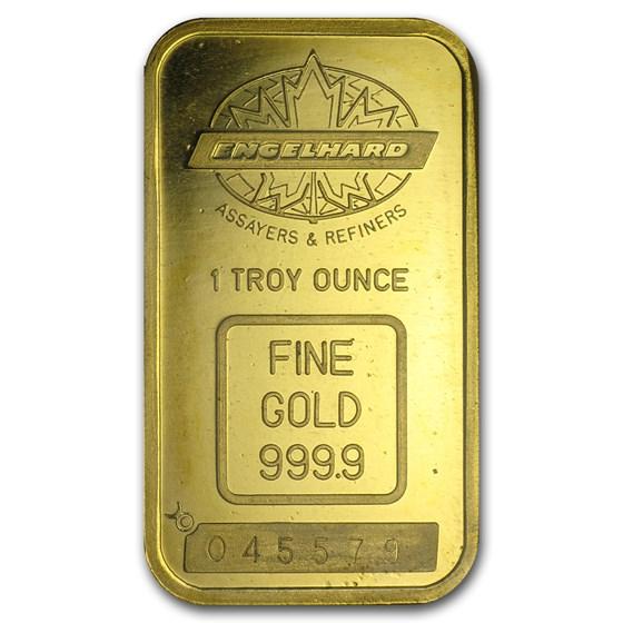 1 oz Gold Bar - Engelhard (Tall, Maple Design, Smooth Border)