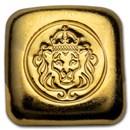 1 oz Gold Bar - Hand Stamped Lion