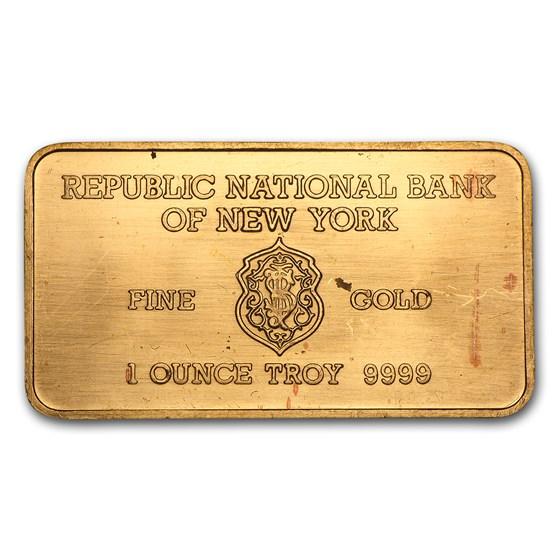 1 oz Gold Bar - Heraeus (Republic National Bank of New York)