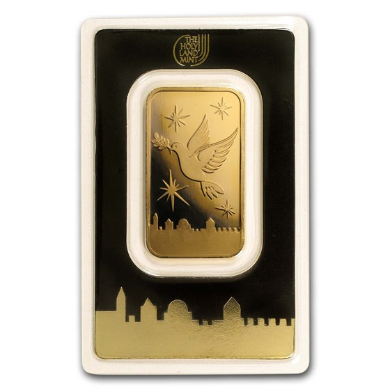 1 oz Gold Bar - Holy Land Mint Dove of Peace