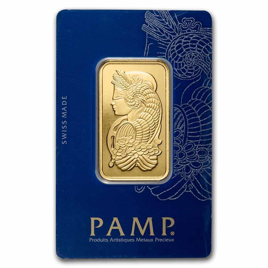 1 oz Gold Bar - PAMP Suisse Lady Fortuna Veriscan® (In Assay)
