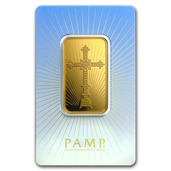 1 oz Gold Bar - PAMP Suisse Religious Series (Romanesque Cross)