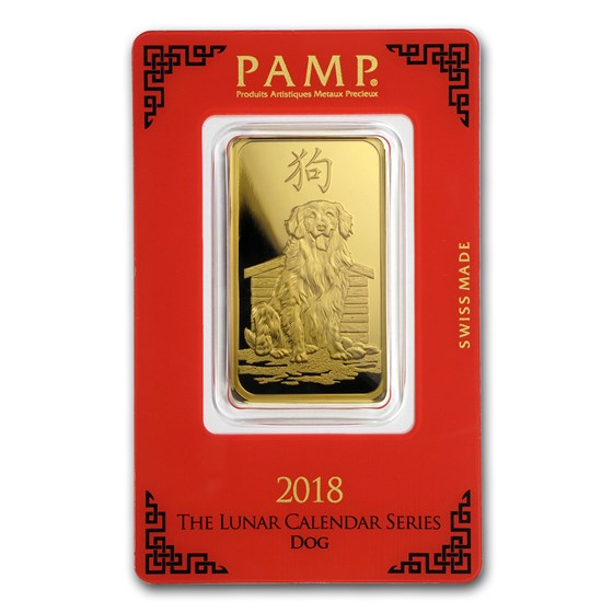 1 oz Gold Bar - PAMP Suisse Year of the Dog (In Assay)