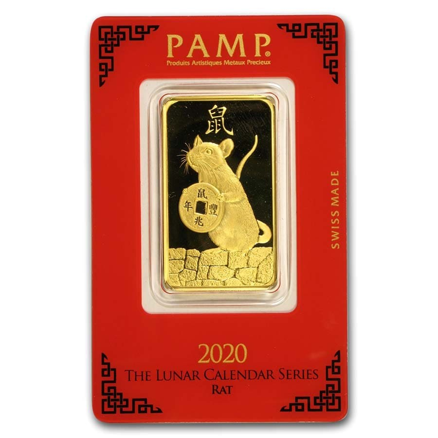 1 oz Gold Bar - PAMP Suisse Year of the Rat (In Assay)