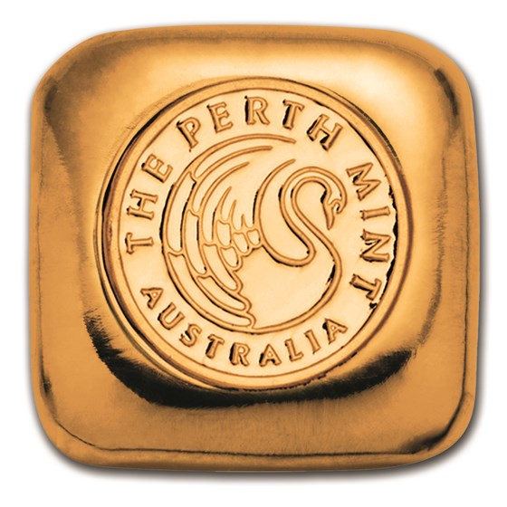 1 oz Gold Bar - Perth Mint Gold Button (Serialized)