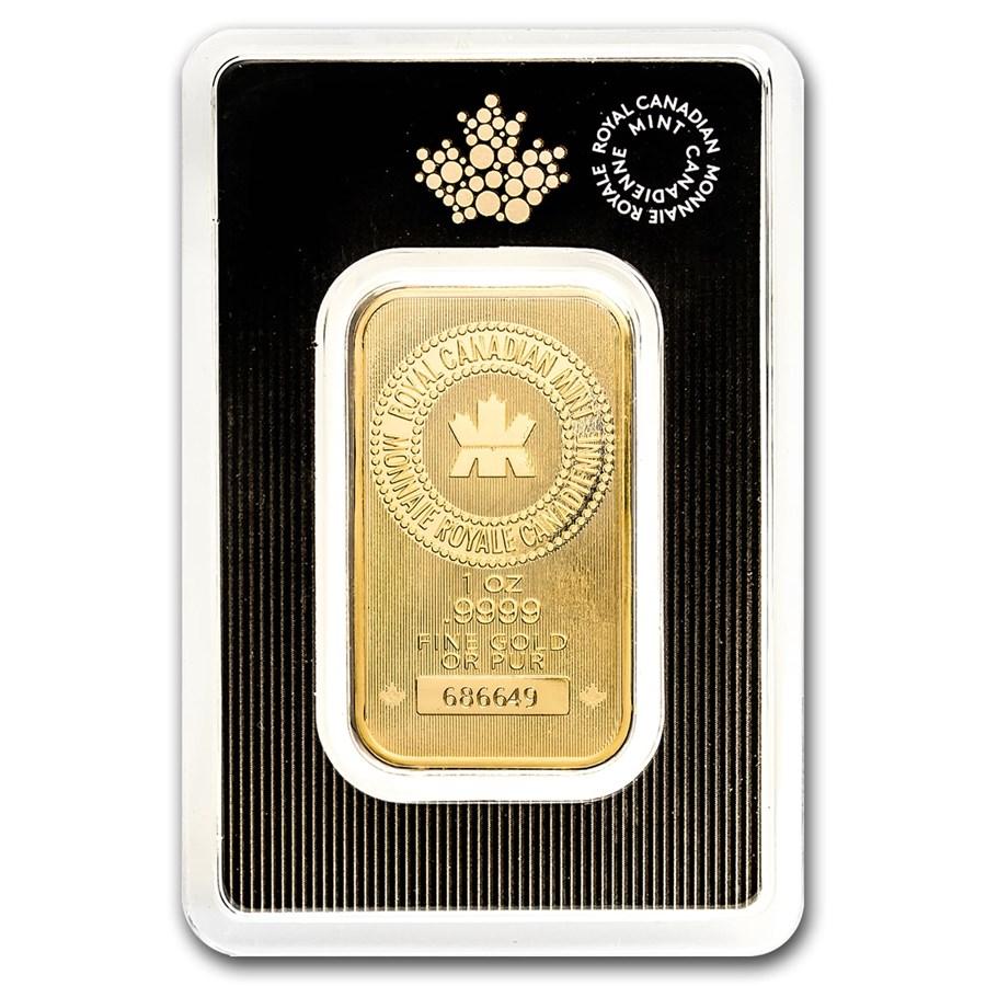 1 oz Gold Bar - Royal Canadian Mint New Design (In Assay)