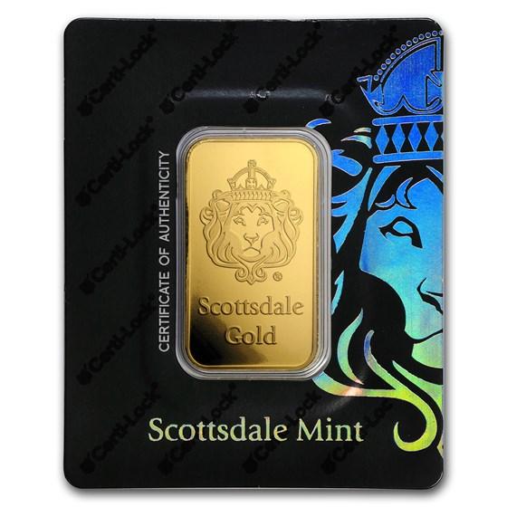 1 oz Gold Bar - Scottsdale Mint Certi-Lock® (Lion, Black Assay)