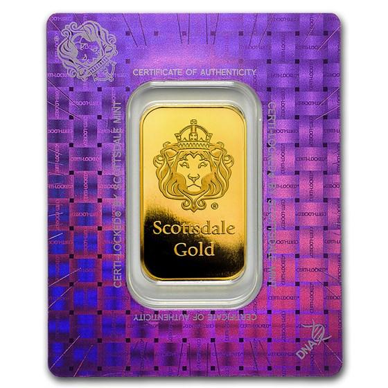 1 oz Gold Bar - Scottsdale Mint Certi-Lock® (Lion, Holo Assay)