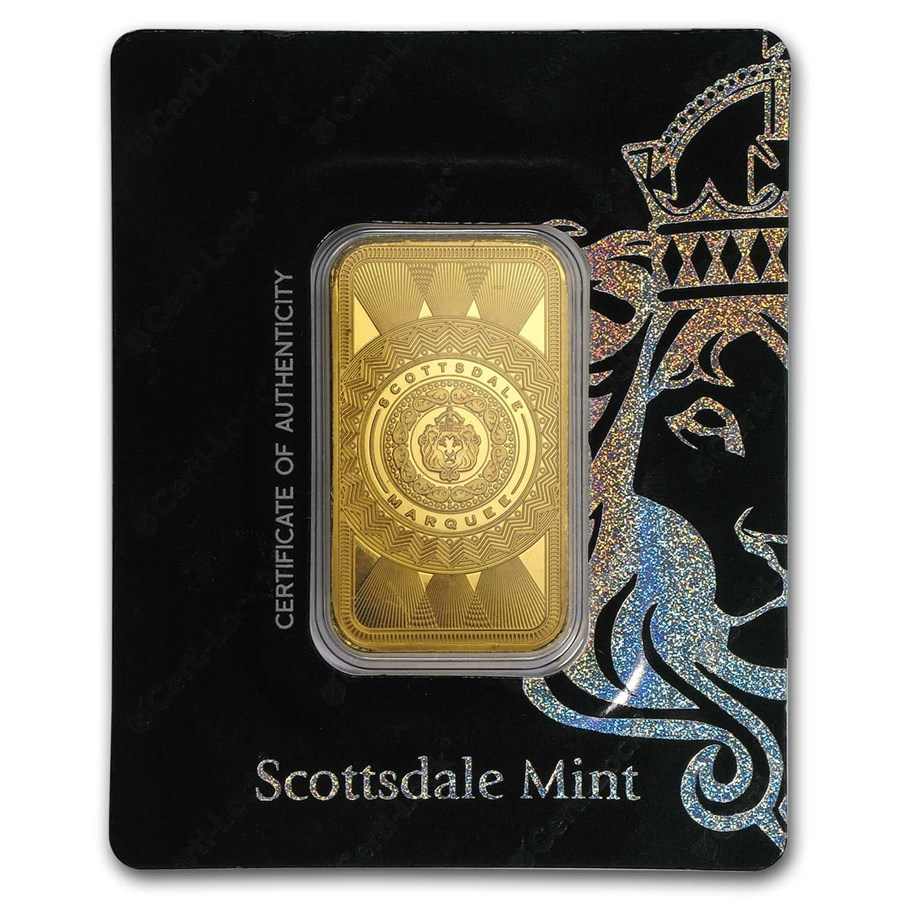 1 oz Gold Bar - Scottsdale Mint Certi-Lock® (Marquee, In Assay)