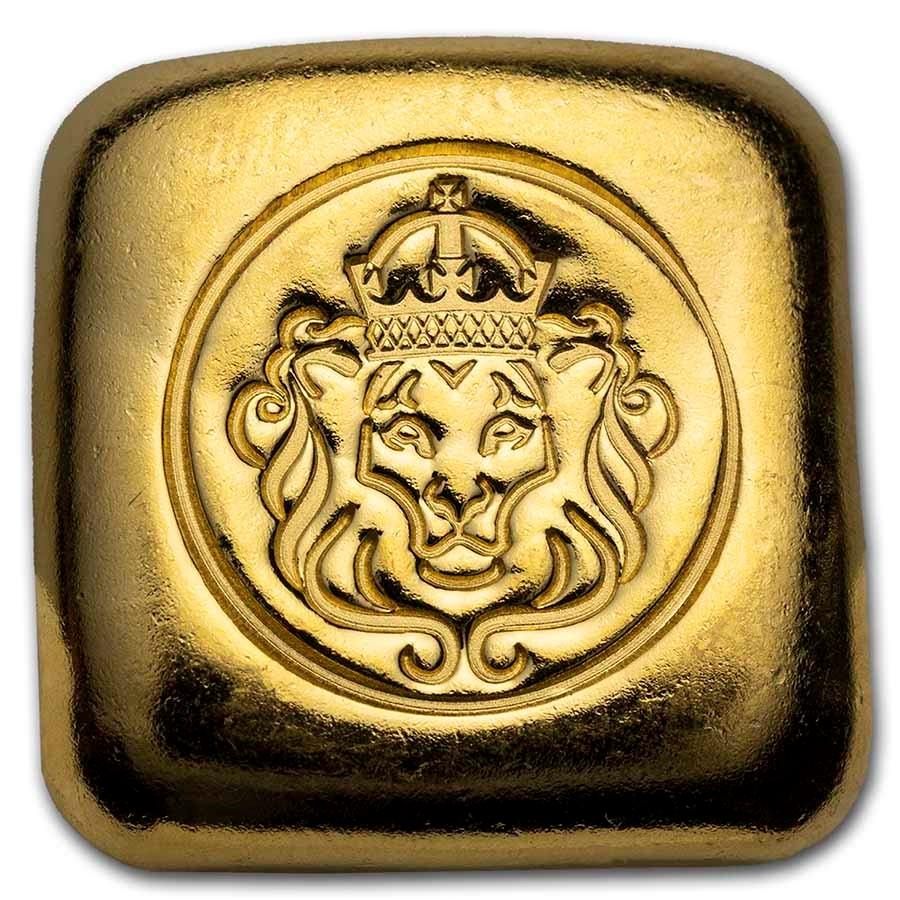 1 oz Gold Bar - Scottsdale Mint Hand Stamped Lion