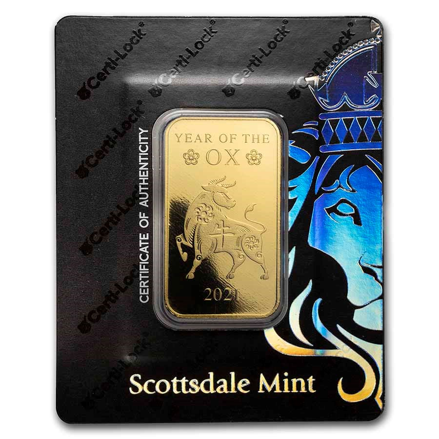1 oz Gold Bar - Scottsdale Year of the Ox Certi-Lock®(In Assay)