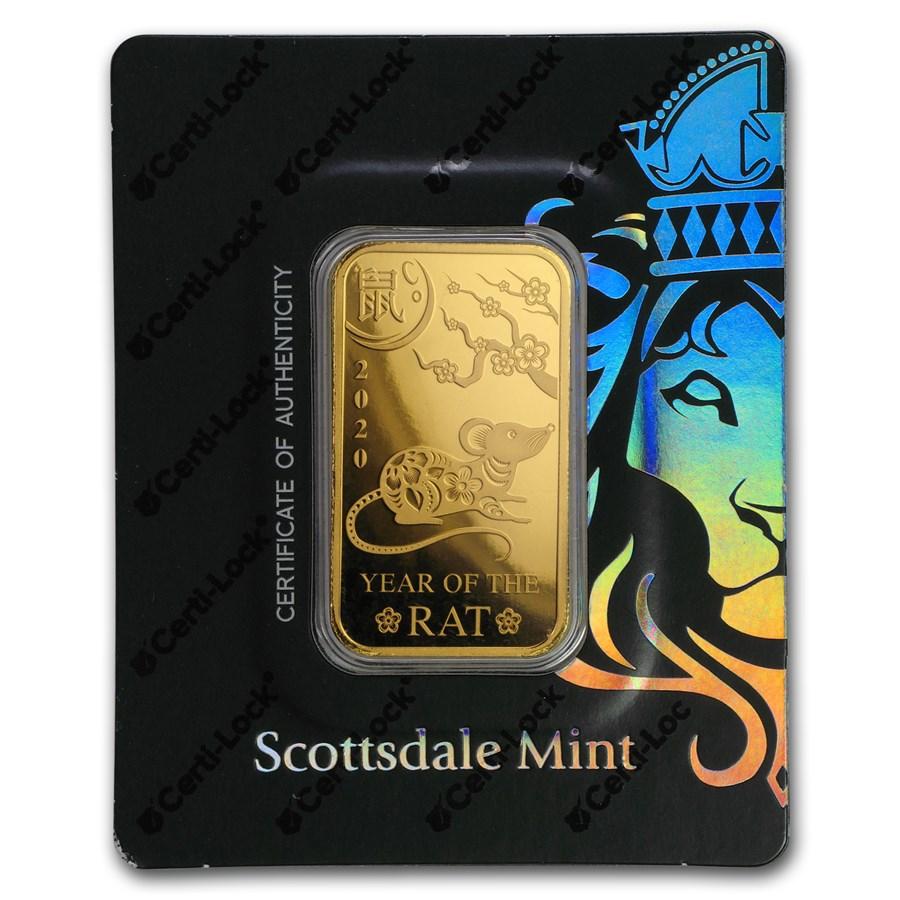 1 oz Gold Bar - Scottsdale Year of the Rat Certi-Lock®(In Assay)
