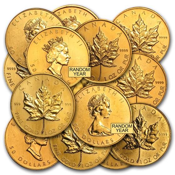 1 oz Gold Canadian Maple Leaf (Abrasions)
