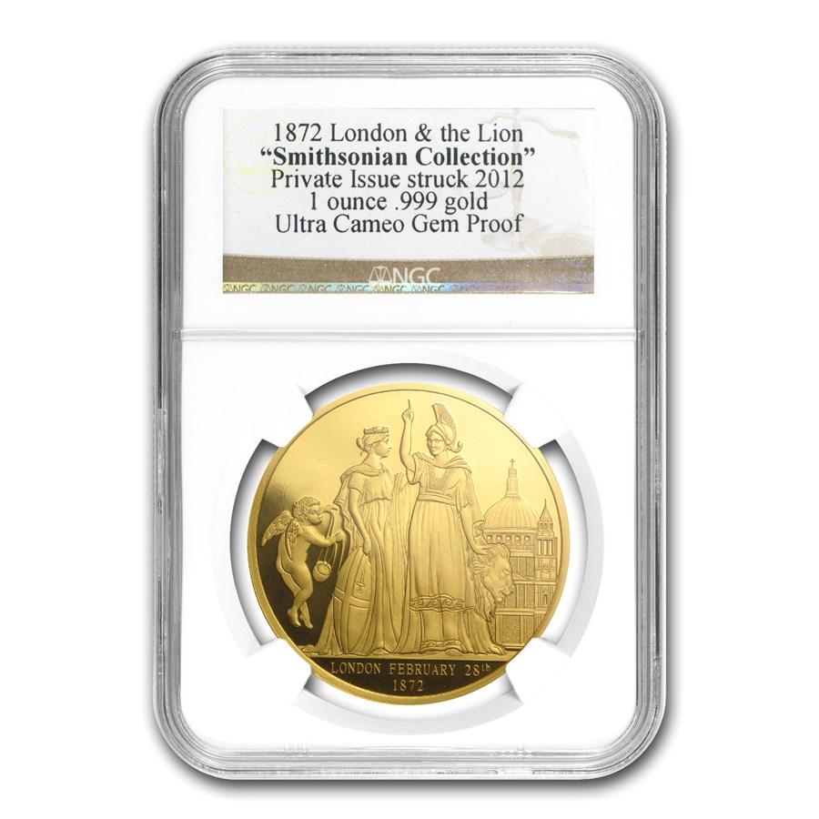 1 oz Gold Round - 1872 London & The Lion Gem Proof NGC