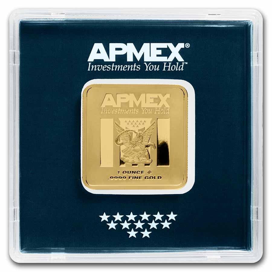 1 oz Gold Square Bar - APMEX (Encapsulated w/Assay)