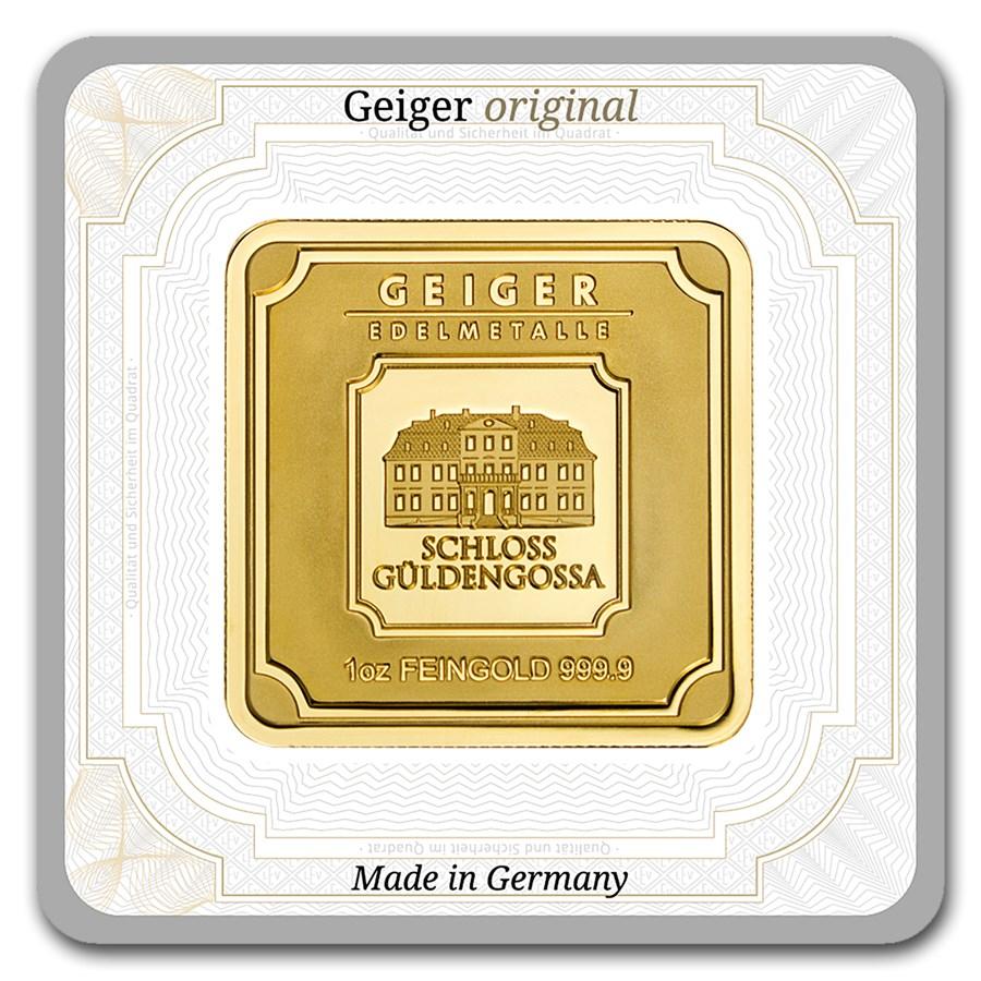 1 oz Gold Square - Geiger Edelmetalle (Encapsulated w/Assay)