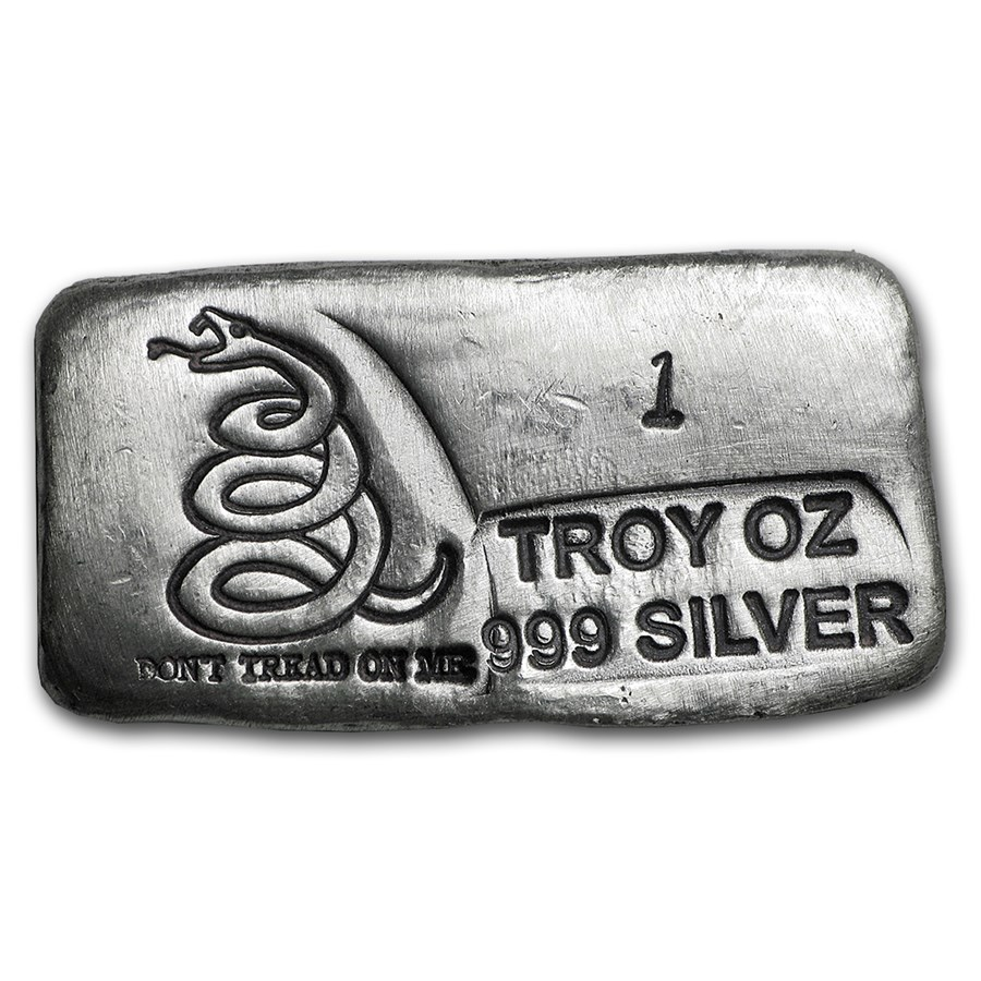 1 oz Hand Poured Silver Bar - Don't Tread On Me