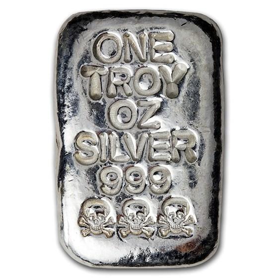 1 oz Hand Poured Silver Bar - Triple Stamped Skull & Bones