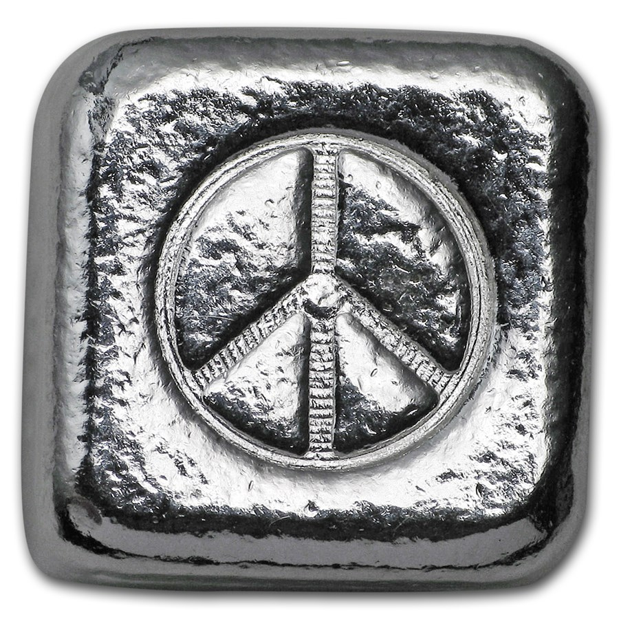 1 oz Hand Poured Silver Cube - Peace Sign
