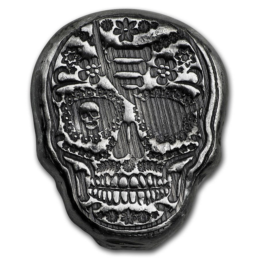 1 oz Hand Poured Silver - Limited Edition Sugar Skull: Pirate Eye