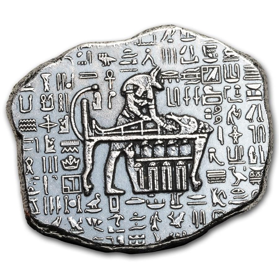 1 oz Hand Poured Silver Relic Bar - Anubis