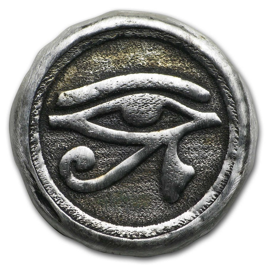 1 oz Hand Poured Silver Round - Eye of Horus