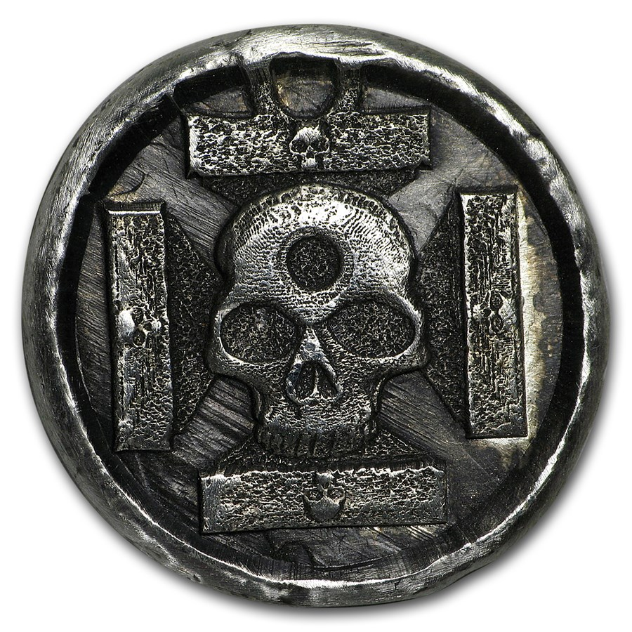 1 oz Hand Poured Silver Round - Iron Cross Skull