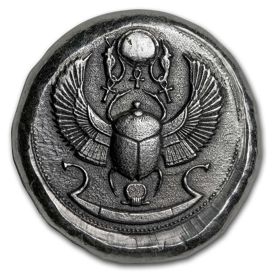 1 oz Hand Poured Silver Round - Scarab Beetle