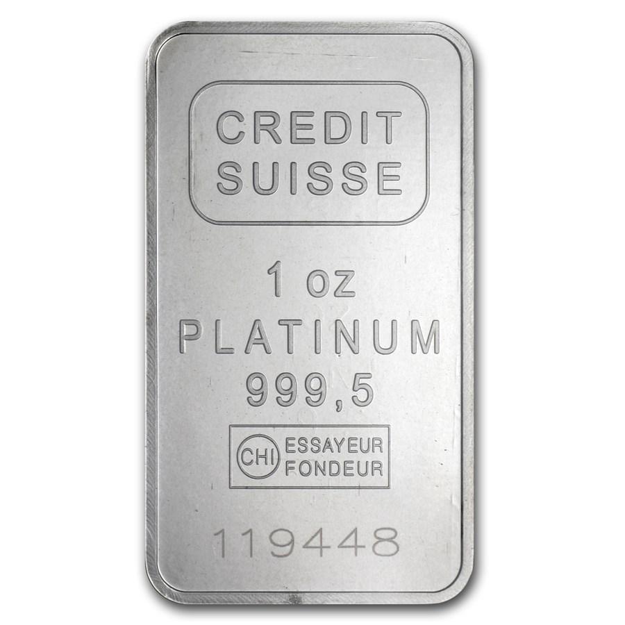 1 oz Platinum Bar - Credit Suisse (.9995 Fine, w/Assay)