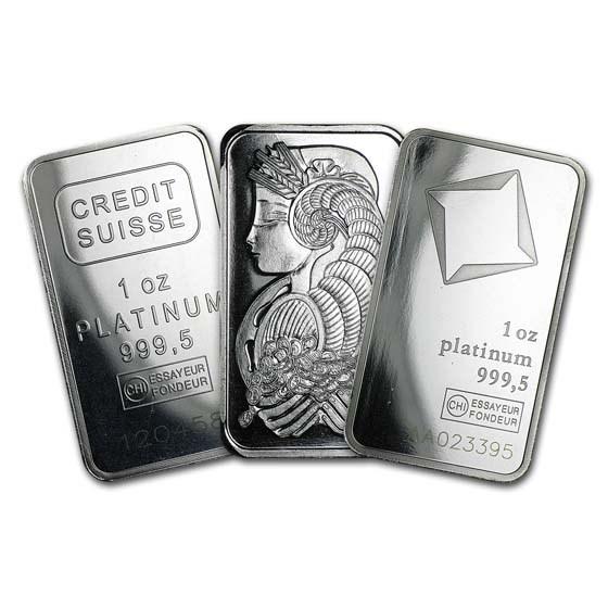 1 oz Platinum Bar - Secondary Market (.999+ Fine)