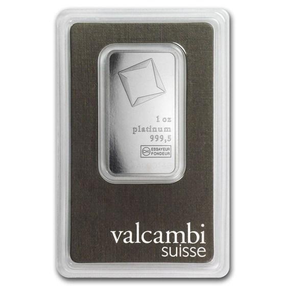 1 oz Platinum Bar - Valcambi (In Assay)