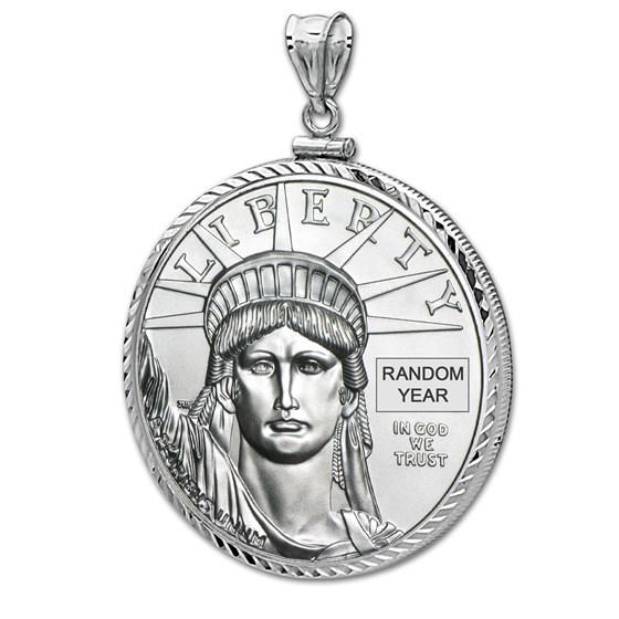 1 oz Platinum Eagle White Gold Pendant (Diamond-ScrewTop Bezel)