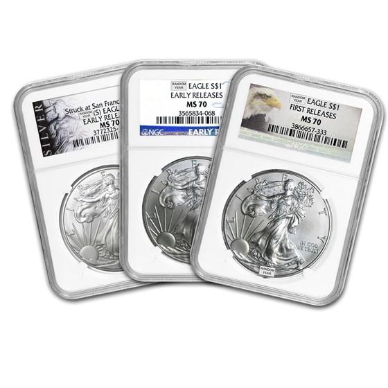 1 oz Silver American Eagle MS-70 NGC (Random Year)