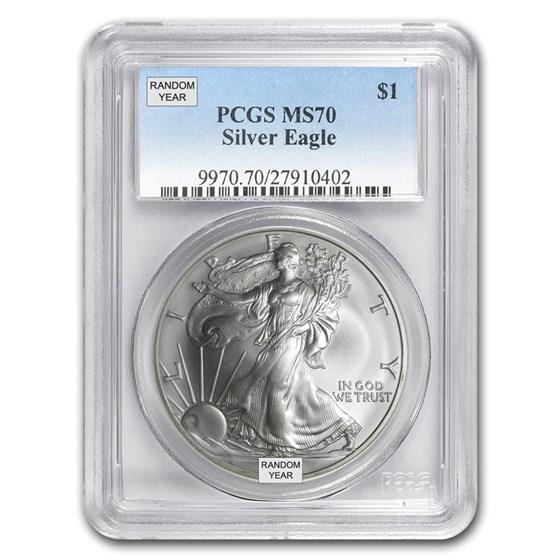 1 oz Silver American Eagle MS-70 PCGS (Random Year)