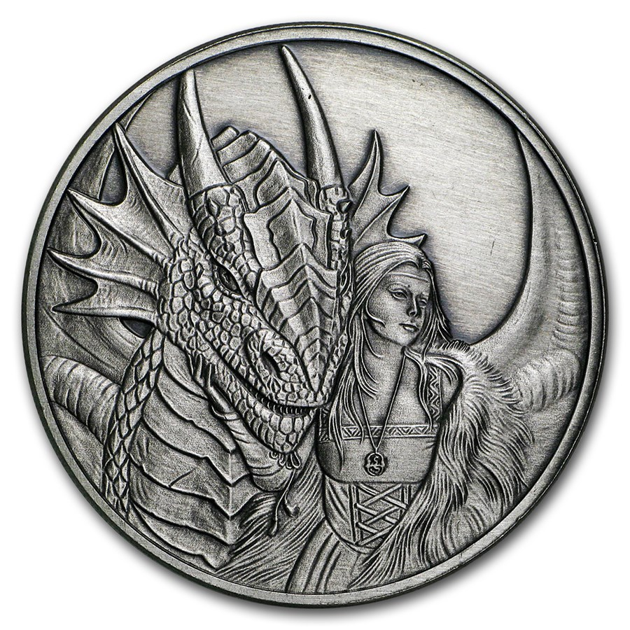 1 oz Silver Antique Round - Anne Stokes Dragons: Friend or Foe