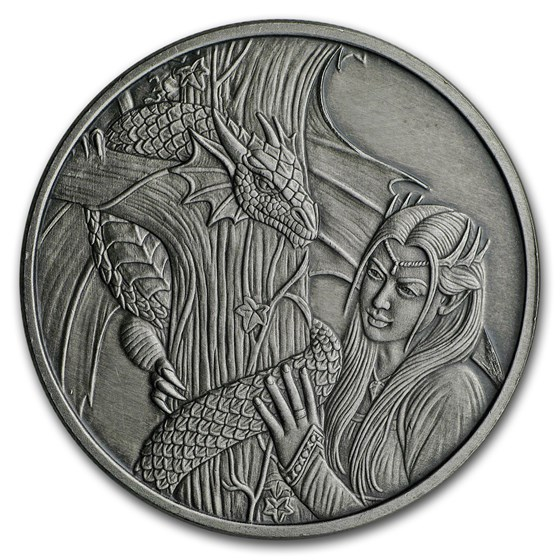 1 oz Silver Antique Round - Anne Stokes Dragons: Kindred Spirits