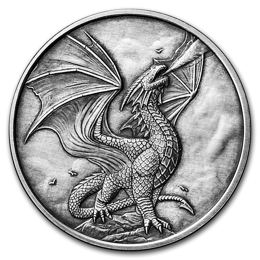 1 oz Silver Antique Round - Anne Stokes Dragons: Noble Dragon