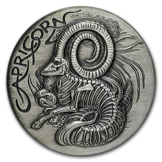 1 oz Silver Antique Round - Zodiac Skull Series (Capricorn)
