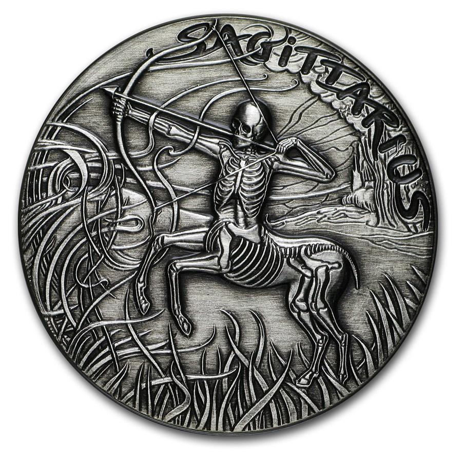 1 oz Silver Antique Round - Zodiac Skull Series (Sagittarius)