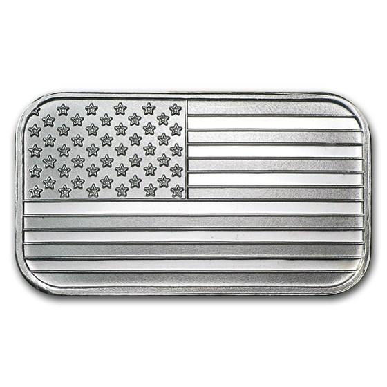 1 oz Silver Bar - American Flag Design